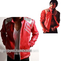 Fans best online shopping - Rare PUNK Rock Motorcycle Classic MJ MICHAEL JACKSON Costume Beat it Red Zipper Jacket Fans Imitator Best Gift