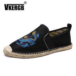 totem animals 2019 - Dragon totem casual men's shoes Breathable Male Fisherman New Fashion Shoes mesh fisherman pedal flats driving chea