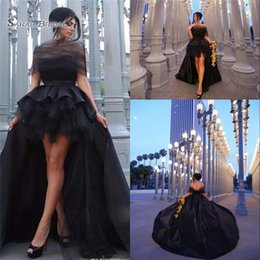 $enCountryForm.capitalKeyWord Australia - 2019 Black High Low Prom Dresses A-line Satin Off the Shoulder Formal Evening Party Gown Special Occasion Dress