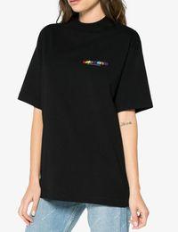 04aa03ff6eaba1 2018 F W Summer VETEMENTS France flag Haute Couture Rainbow Letter  Embroidery men short sleeve t shirt Hip hop Fashion Tee S-XL