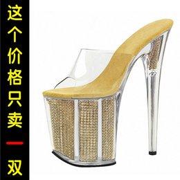 Venta al por mayor de Fascinante2019 Super 20cm Día Alta Fina Impermeable Brida de plataforma Cristal transparente Una palabra con zapatilla fresca Codificará los zapatos de mujer
