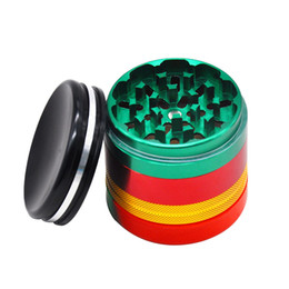 tobacco grinder aluminum UK - Rasta Color Aluminum Smoking Herb Grinder Silicone Storage Stash Jars 63MM 5Piece Metal Tobacco Herbal Grinders Herbal Crusher Accessories