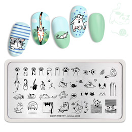 $enCountryForm.capitalKeyWord Australia - BORN PRETTY Stamping Plates for Nails Cute Cats Animal Flower Rectangle Nail Art Image Template Stencil Nails Tool