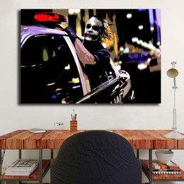 oil painting landscapes dark Australia - Dark Knight Joker Driving Police Car Marvel Wall Art Canvas Poster And Print Canvas Painting Decorative Picture For Living Room Home Decor