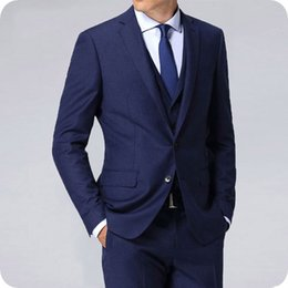 $enCountryForm.capitalKeyWord Canada - Latest Designs Navy Blue Men Suits Groom Tuxedos Wedding Slim Fit Terno Masculino 3Pieces Man Blazers Two Buttons Male Jacket Custome Homme