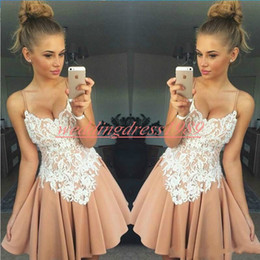 fa1d63bb3a White lace applique cocktail dress online shopping - Stunning Lace Chiffon Short  Homecoming Dresses A Line