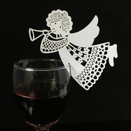 birthday wine glasses Australia - 10 Colos 50pcs Laser Cut Angel Table Mark Wine Glass Name Place Card Wedding Birthday Baby Shower Party Favor christmas Supplies