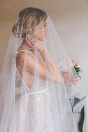 veil jewelry NZ - 2018 Bridal Veil White ivory Long Wedding Veil Mantilla Wedding Accessories Veu De Noiva With Lace Flowers Beadwork Md3090 C19041101