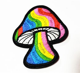 $enCountryForm.capitalKeyWord UK - Wholesales~10 Pieces Rainbow Mushroom (5.5cm x 7cm) Cute Kids Patch Embroidered Applique Iron on Patch (AL) Custom Made