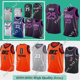 Timberwolves Derrick 25 Rose Jimmy 23 Butler 76ers 2019 City jersey Dwyane  3 Wade 0 Westbrook 13 George Thunder Mens youth Stitched jerseys 76ab5482b