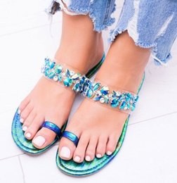 Ring Slides Australia - Ring Toe crystal embellished woman slippers shoes bling bling rhinestone flats slides shoes leather summer flip-flop shoes woman