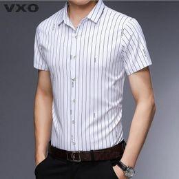 Shirt Ironing Australia - VXO 2019 Short Sleeve Men Shirt Camisa Masculina Summer Shirt Men Dress Shirts Working Man Casual Wrinkle free ironing