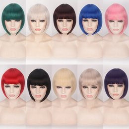 blonde bob wigs bangs Australia - Cheap Synthetic Hair Short Bob Wigs With Bangs Red Blue Yellow Pink Purple Blonde Natural Anime Cosplay Wig Anime Costume