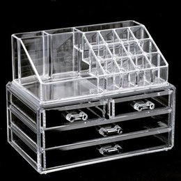 clear makeup drawers cosmetics Australia - Clear Makeup Case 4 Drawer 16 grid Cosmetic Organizer Jewelry Storage Acrylic