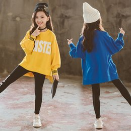 Sweatshirts Blue Australia - Yellow blue Sweatshirts for children girls 2019 autumn top 160 cm girls top t shirt big girl clothing