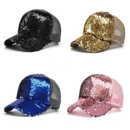China Ponytail Baseball Cap Sequins Shiny Mesh Hat Sun Caps Adults Children Baseball Cap Glitter Sparkling Hats 6 colors B11 supplier wholesale glitter hats suppliers