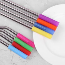 $enCountryForm.capitalKeyWord Australia - 4pcs Silicon Tips Cover Food Grade Cover For 5mm Stainless Steel Straws Cover Teeth Protector Bar Accessories Party Supplies