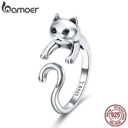 d78b2d8f2 BAMOER Genuine 925 Sterling Silver Long Tail Naughty Cat Finger Rings for  Women Adjustable Size Sterling Silver Jewelry SCR409