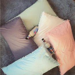 Discount couple case design - Solid Cotton Pillowcase Home Bedding Super Soft Pom Pillow Cover Wedding Gift Design Pillow Case For Couple Him Her 2pcs