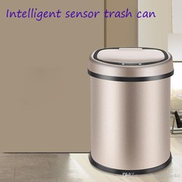 $enCountryForm.capitalKeyWord Canada - Intelligent sensor Trash Bin household with cover bathroom waterproof charging living room kitchen stainless steel gift European style