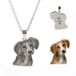 $enCountryForm.capitalKeyWord Australia - Custom Personalized Pet cat dog Photo Necklace Pendants Stainless Steel Engrave Name Necklace Women Men Jewelry Memorial Gift GMX190711