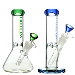 "China 8"" Glass beaker bong small water pipes zob ice catcher hitman perc dab oil rigs bongs bubbler percolator pipe rig hookah straight tube cheap ice bongs suppliers"