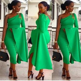 Green Tea Length Dresses Australia - South African Mermaid Prom Dresses 2019 One Shoulder Long Sleeve Ruffles Green Tea Length Gold Lace Applique Formal Evening Dress Party Gown