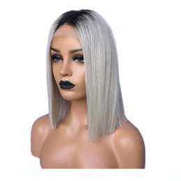 human hair grey lace front wigs Canada - A Grey Hair Wigs Lace Front Ombre Silver 1b Dark Root Pre Plucked Short Lace Front Bob Human Hair Wigs For Black Women