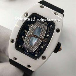 $enCountryForm.capitalKeyWord Australia - Top Luxury 07-01 White Ceramic Ladies Watch Automatic 28800vph Sapphire Crystal Diamond Dial Rubber Strap transparent case back Watch