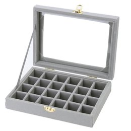 Holder Display UK - Velvet Jewelry Display Box 24 Grids Jewel Storage Women Sundries Holder Case Organizer For ings Earrings Necklaces