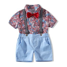 $enCountryForm.capitalKeyWord Australia - Summer Toddler Infant Baby Boys Kids Clothes Gentleman Tops T-shirt Suspenders Strap Shorts Set Outfits