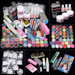 Glitter acrylic tips online shopping - Professional Acrylic Nail Art Tips Powder Liquid Brush Glitter Clipper Primer File Set Brush Tools New Nail Art Decoration