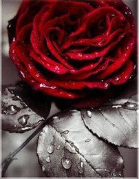 Unframed canvas red flowers online shopping - Rhinestone full round square diamond embroidery flower red rose D diy diamond painting cross stitch kit home mosaic decor gift BB0269
