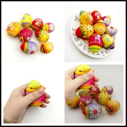 Squeezing Balls Free UK - Squishy Easter Eggs Slow Rising Jumbo Multicolor Eggs Stress Relieve Animals Ball Toys Squeeze Decompression Toys For Children New