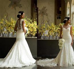 $enCountryForm.capitalKeyWord Australia - 2019 Garden Wedding Dresses Mermaid Illusion Neckline Bridal Gowns Nigerian Lace Covered Button Back Long African Aso Ebi Wedding Gown