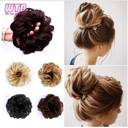 Bride hair extensions online shopping - Women Curly Chignon Hair Clip In Hairpiece Extensions Bun for Brides Colors Synthetic High Temperature Fiber Chignon