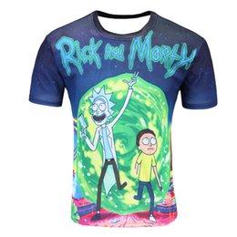 cartoon blue t shirt 2019 - New Fashion Rick And Morty T-shirt Women men Harajuku Tee Shirt Printed 3d Cartoon T Shirt Camisetas Funny Clothing chea
