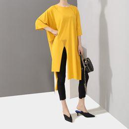 $enCountryForm.capitalKeyWord Australia - New 2019 Korean Style Women Solid Yellow Long Tee Top Half Sleeve Ripped Hem Design Female Unique Hipster T-shirt Tshirts F345