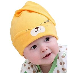 knit beanies brim UK - 1pc  lot New Baby Hat Baby Knitting Beanies Child Sleep Hat Toddler Cap Kids Newborn Clothing Accessories Hat LA859489