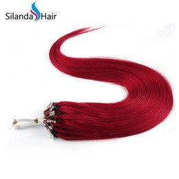 $enCountryForm.capitalKeyWord Australia - Silanda Hair Pre Colored Red Straight Micro Ring Loop Links Remy Hair Extensions 1g s 50 strands pack Free Shipping