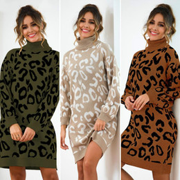 womens sweater dresses Australia - 2019 Autumn Winter High Collar Long-sleeved Knit Pullover Sweater Women Turtleneck Long Sleeved Mini Dress Pullover Womens Knitted Sweater