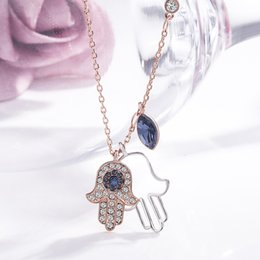18k Gold Hand Chain Australia - Hamsa hand palm high-grade full crystal pendant necklace Europe and Europe hot plated 18k rose gold Women's jewelry gift