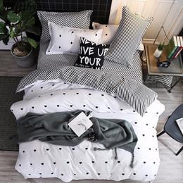 Black White Rose Bedding Australia - Home Textile White Stripe Bedding Set 3 4pcs Queen Full King Size Duvet Cover Child Adult Pillowcase Flat Sheets Bedclothes