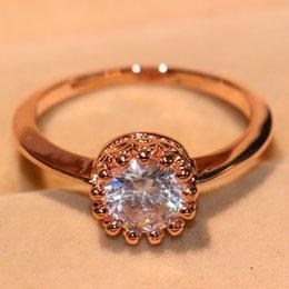 Gemstone Ring Size Gold Australia - Size 5-10 Top Selling Brand Desgin Fashion Jewelry 10KT Rose Gold Filled Round Cut White Topaz CZ Diamond Gemstone Women Wedding Crown Ring