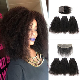 Natural humaN hair afro pieces online shopping - Kisshair Afro Kinky Curly Virgin Hair Bundles with Lace Closure Natural Brown Brazilian Curly Human Hair with x13 Frontal