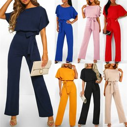 Discount long sleeve loose jumpsuit - Summer Womens Casual and Loose Solid Batwing Tie Waist Wide Leg Trousers Soft and Thin Long Sleeve Jumpsuits