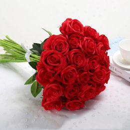 $enCountryForm.capitalKeyWord Australia - 11 Pcs 48cm Artificial Rose Fake Rose Bouquet Home Decoration Plastic Flower Indoor Dried Flower Floral Ornament Chencheng J190711