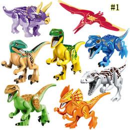 Kids Blocks Wholesale Australia - 8pcs Jurassic World Dinosaur Blocks Park Movie Triceratops Tyrannosaurus Velociraptor Model Building Blocks Kids Toys Mini figures MMA1498