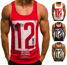 T Shirt Digital Printing Sport Australia - New tops Men's vest T-shirt digital letter printing round neck sleeveless 2019 summer European code loose cotton fashion sports vest wholesa