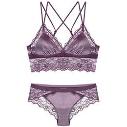 03351ffb9b Ysandrenne Women Eyelash Lace Bralette Soft Cup Velvet Bra Wire Free Sexy  Lingerie Sets Unlined Lace Bra Set S M L XL